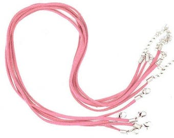 Set of 5 cords Choker pink suede of 45 cm in length