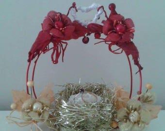 ring pillow wedding Golden straw nest design