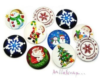 Set of 10 Christmas embellishment scrapbooking.* special glass cabochons