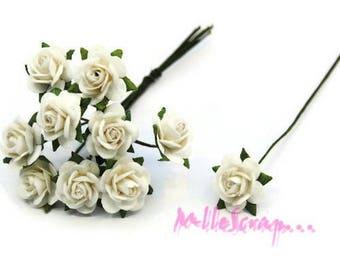 Lot de 10 petites roses blanc papier avec tige embellissement scrap carte*