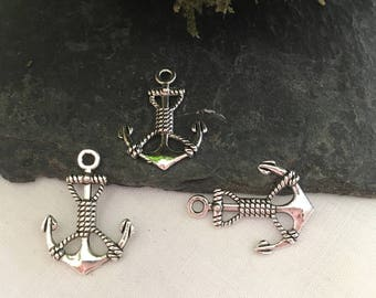 5 pendants form anchor, antique silver color, for theme creations