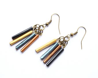 Ethnic earrings with recycled Nespresso Capsules aluminum charms blue, Brown and gold - women gift