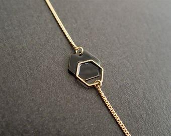 Black Hexagon minimalist bracelet - enameled jewelry
