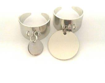 Ring charm round flat pendant 10mm Silver (no brand Deloch'.).