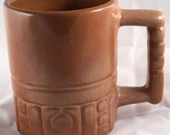 Frankoma C4 Mug, Mayan/Aztec Design in Satin Brown
