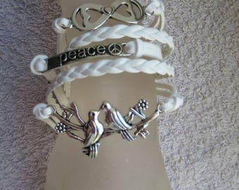 BRACELET fancy white trendy multi strand cord braided White leather with charms