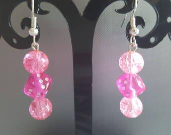 Pink dice earrings