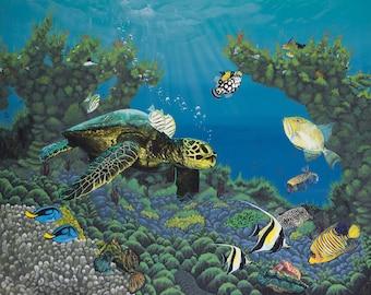 Sea Turtle Ocean Art Print entitled Genesis
