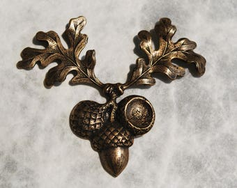 Brass Acorn and Oak Leaf Centerpiece