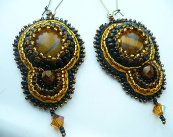Earrings black and yellow, Tiger eye, embroidered earrings