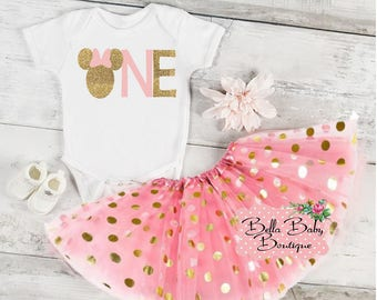 Glitter Gold 1st Birthday Minnie Mouse Tutu Outfit | Personalized 1st Birthday Minnie Mouse Vinyl Design