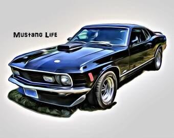1970 Ford Mustang T-Shirt Boss 302 Fastback Custom, mustang t shirt, muscle car, men tshirts, black mustang, car t shirts, Ford t-shirt