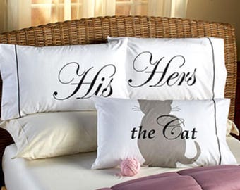 His Hers The Cat Pet Lovers Pillowcase Set