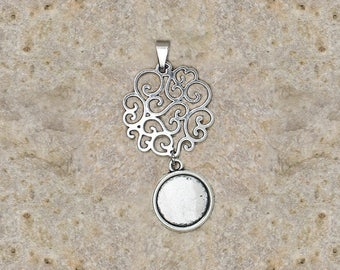 support cabochon 14 mm filigree scrollwork pendant