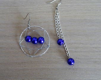 Purple beads and Silver earrings