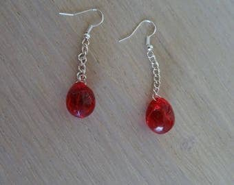 Red string with beads earrings