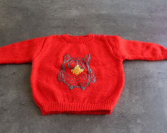 """""""owl's head"""" sweater red 3 months"""