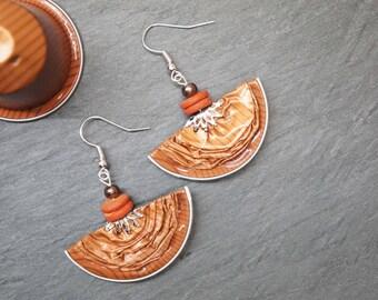 Earrings capsules of coffee - stripes Orange half-moon
