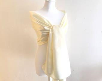 satin ivory wedding shawl 70/200 cm stole wedding/baptism/party/cocktail
