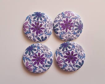 Set of 5 blue flower wooden buttons