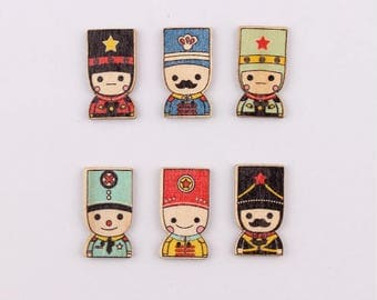 Set of 5 wooden soldier buttons