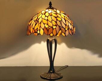 Tiffany Amber Lamp 12'', Tiffany Desk Lamp, Tiffany Lamp, Desk Lamp, Lamp, Steined Glass