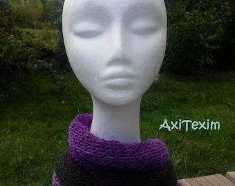Neck warmer, snood multicolor chic purple tones