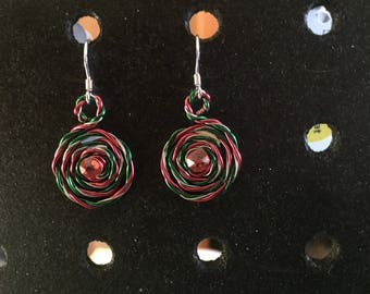 Pink Twisted Wire Earrings with Gems