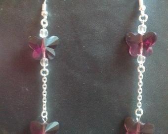 925 Silver earrings and butterflies in quartz