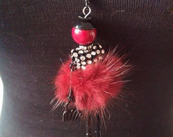 Red doll articulated pendant necklace