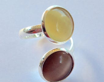 Silver double ring cat's eye