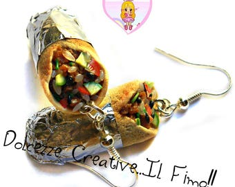 Burritos earrings - with rice, meat and lots of vegetables - Mexican - gift idea