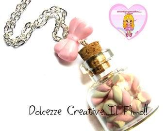 Marshmallow - goth pastel kawaii - handmade jar necklace