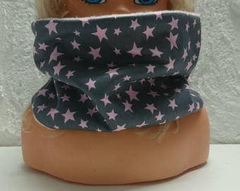 SNOOD reversible fleece collar lining and cotton taupe pink star