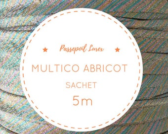 5 m lurex - multicolor apricot piping bag