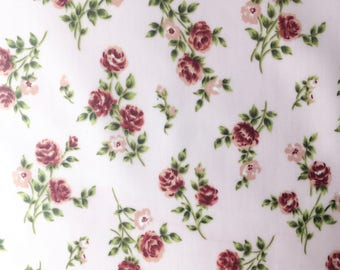Matte coated cotton fabric - powder Pink Bouquet
