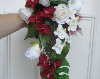 "Cascading bridal bouquet ""Alice"" - ivory cream and Burgundy"