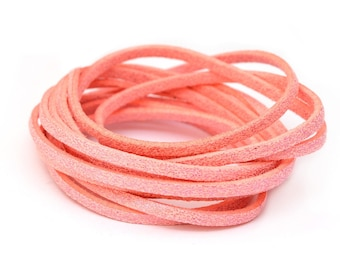 Pink with pink glitter suede cord