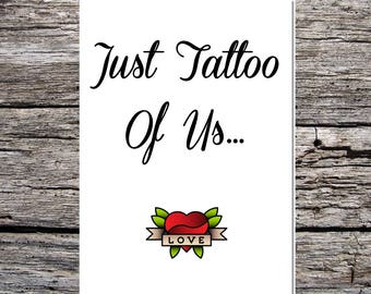 valentine's day card, anniversary card, tattoo card, card for him, card for her, tattoo theme card, just the two of us, love heart tattoo