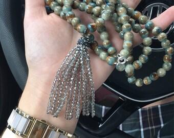 double wrap necklace w/ silver tassle