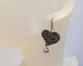 Heart charm and Red bead earrings