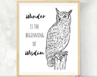 Wonder Is The Beginning Of Wisdom | Owl Art | Coloring Page | Inspirational Quote | DIY Digital Print | Nursery Decor | Baby Shower Gift