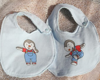 Set of 2 bibs Tchoupi newborn