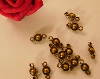 10 small ball connectors bronze