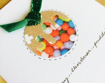 Glitter Christmas plum pudding card