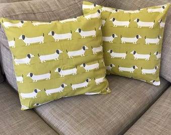 Dachshund / Sausage Dog Cushion Covers in Ocre