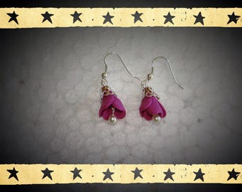 2 Fuchsia 15mm by 12mm mounted on silver plated earrings