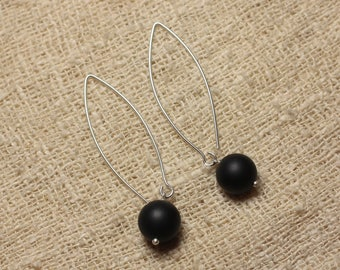 Earrings 925 sterling silver and stone - Onyx Black Mat10mm