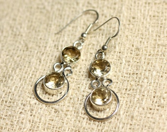 BO201 - earrings 925 sterling silver and stone - Citrine round 7mm