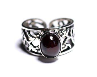 N224 - Ring 925 sterling silver and semi precious - Garnet oval 9x7mm